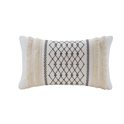 Bea Cotton With Tassels Oversize Lumbar Throw Pillow Ivory
