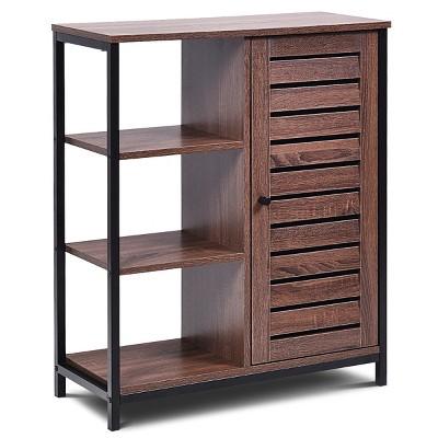 Costway Industrial Bathroom Storage Cabinet Free Standing Cabinet W/3 Shelves