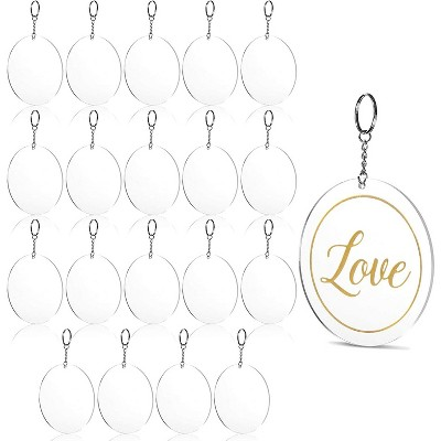 Bright Creations 20-Pack Round Clear Acrylic Keychains for Gift Bags, Arts and Crafts, 4 In
