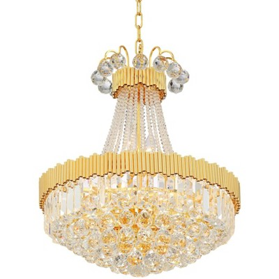 """Vienna Full Spectrum Gold Chandelier 19 1/2"""" Wide Clear Crystal 10-Light Fixture Dining Room House Foyer Kitchen Entryway Bedroom"""