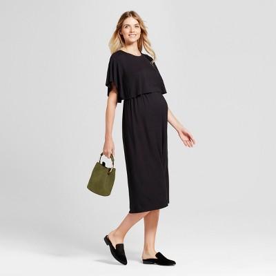 Maternity Short Sleeve Nursing Midi Dress - Isabel Maternity™ by Ingrid & Isabel® Black XL