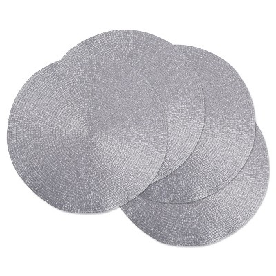Set of 4 Metallic Round Woven Placemat Silver - Design Imports