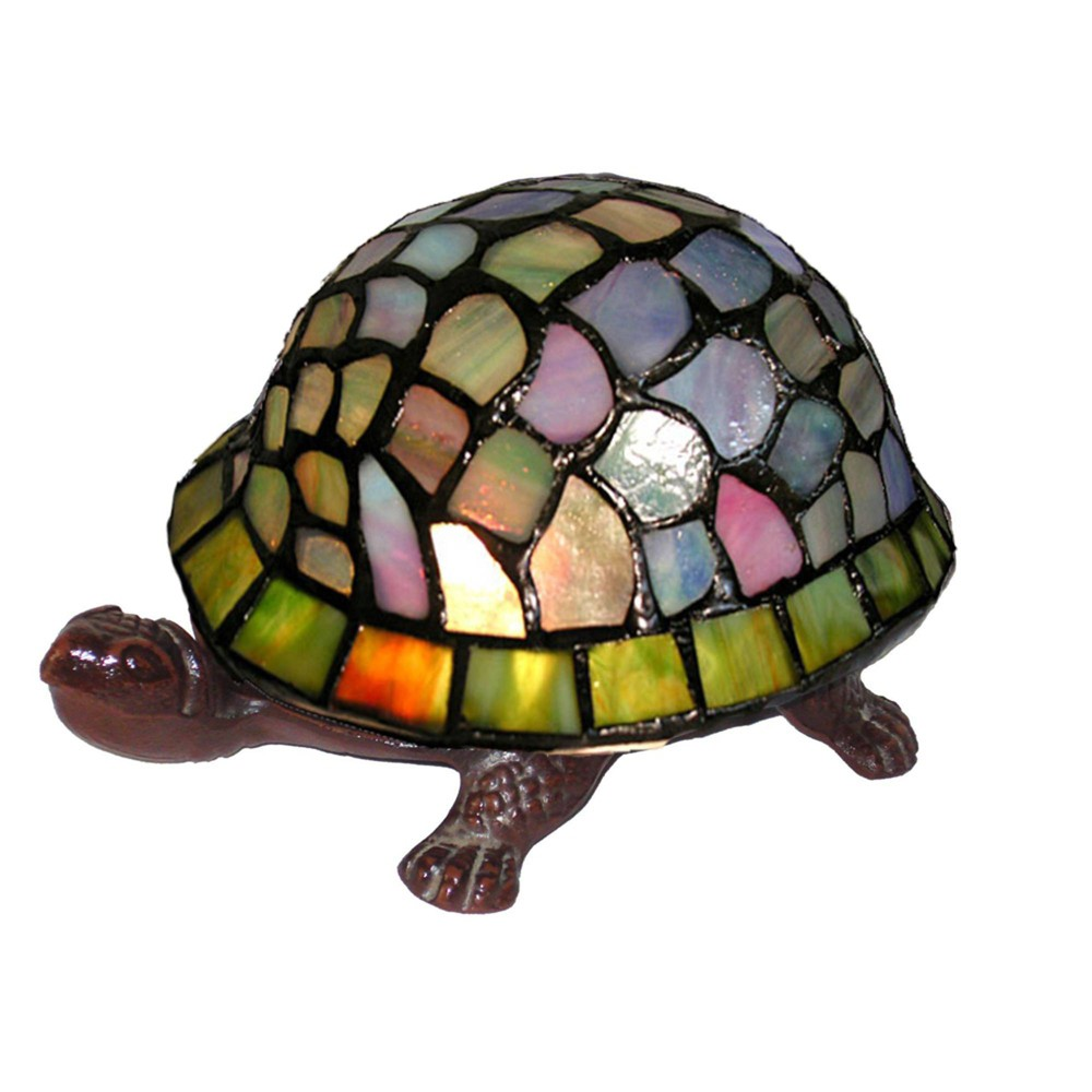 """Image of """"8"""""""" x 8"""""""" x 4"""""""" Tiffany Style Turtle Accent Lamp Green/Blue - Warehouse of Tiffany"""""""