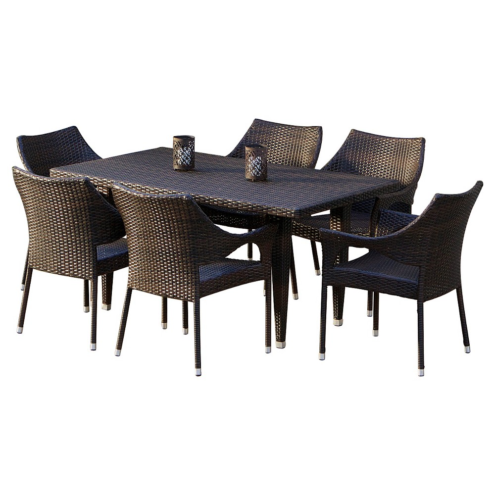 Cliff 7pc Wicker Patio Dining Set - Brown - Christopher Knight Home