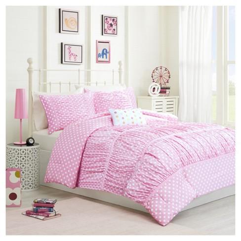 Marie Polka Dot Comforter Set Pink, Pink Polka Dot Bedding