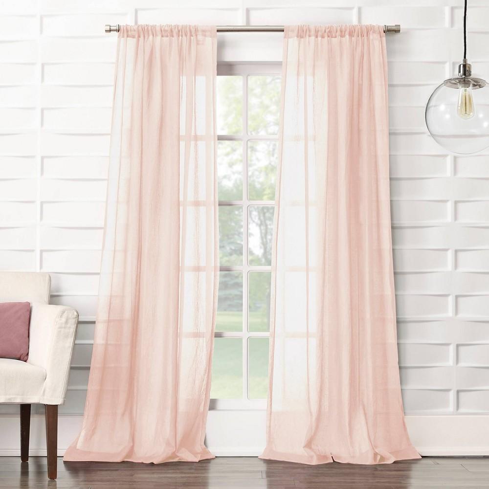 "Image of ""50""""x63"""" Avril Crushed Texture Rod Pocket Semi-Sheer Curtain Panel Blush - No. 918"""