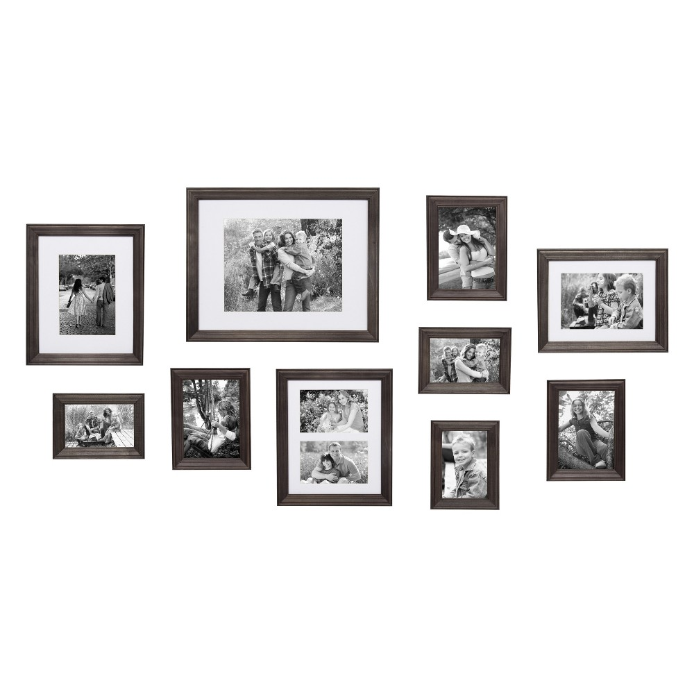 Image of 10Pc Bordeaux Wood Frame Set Gray - Kate & Laurel All Things Decor