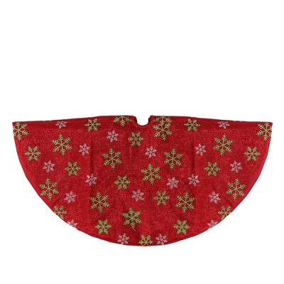 "Northlight 20"" Metallic Red with Green and White Snowflakes Mini Christmas Tree Skirt"