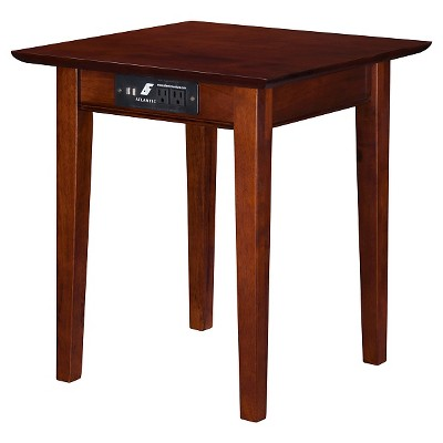 Shaker End Table with Charger - Walnut - Atlantic Furniture