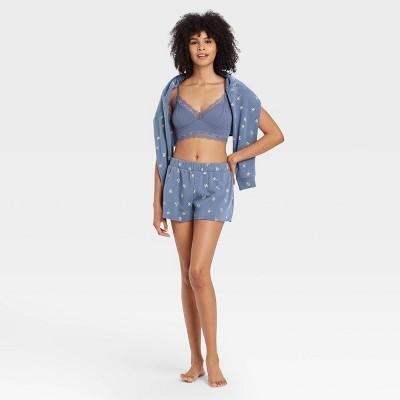 Women's Floral Print Fleece Lounge Shorts - Colsie™ Blue