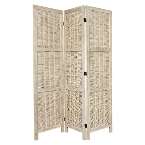 5 1/2 ft. Tall Bamboo Matchstick Woven Room Divider - Burnt White (3 Panel) - image 1 of 1