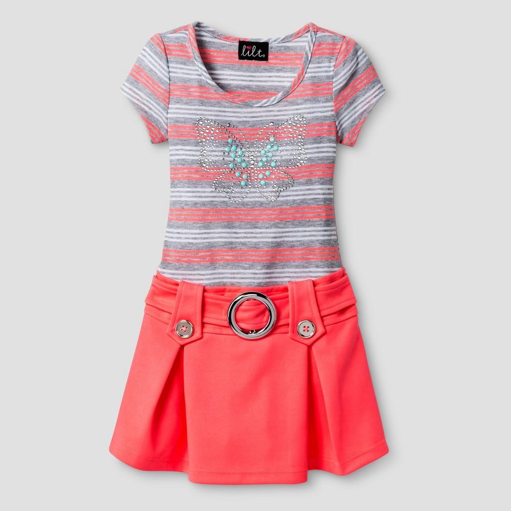 Girls' Lilt Striped Bodice Dress with Scuba Flippy Skirt & Butterfly - Coral (Pink) /Gray 6X