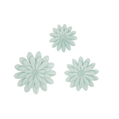 Set of 3 3D Pastel Green Flower Wall Decor - Olivia & May