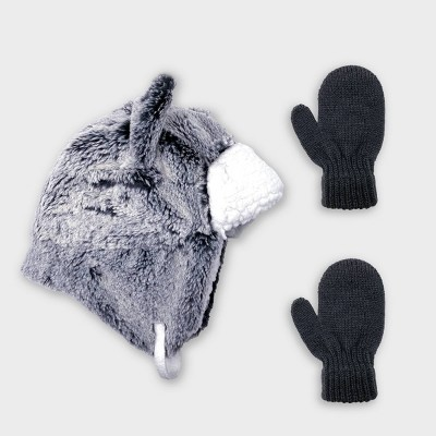 Baby Boys' Wolf Trapper and Magic Mittens Set - Cat & Jack™ Gray 12-24M