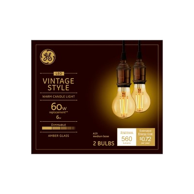 General Electric 2pk 60W VintaAline Filament Amber LED Light Bulb White