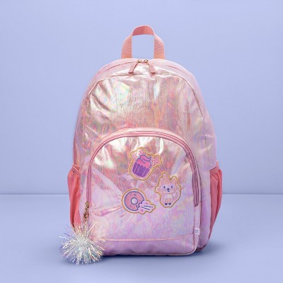"""17"""" Kids' Backpack Pink Iridescent with Patches - More Than Magic™"""