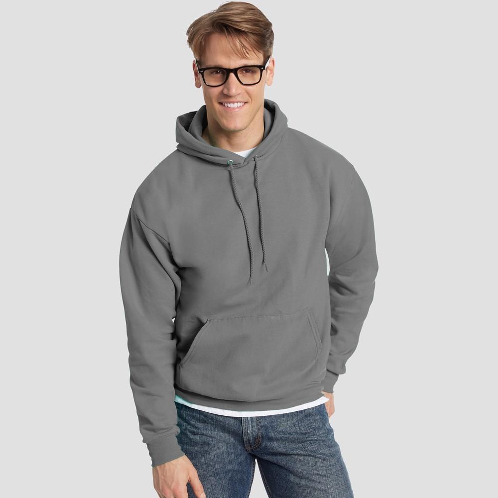 Hanes Men's EcoSmart Fleece Pullover Hooded Sweatshirt - Smoke (Grey) S