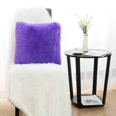 """1 Pc 24"""" x 24"""" Polyester Fuzzy Decorative Pillow Cover Purple - PiccoCasa"""