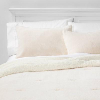 King Aspen Faux Fur Comforter & Sham Set Cream