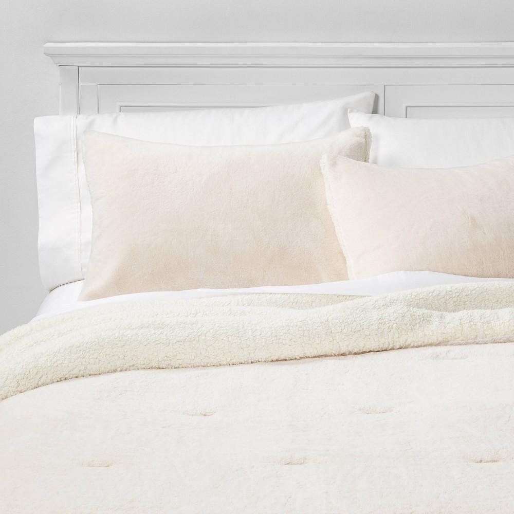Image of King Aspen Faux Fur Comforter & Sham Set Cream, Ivory