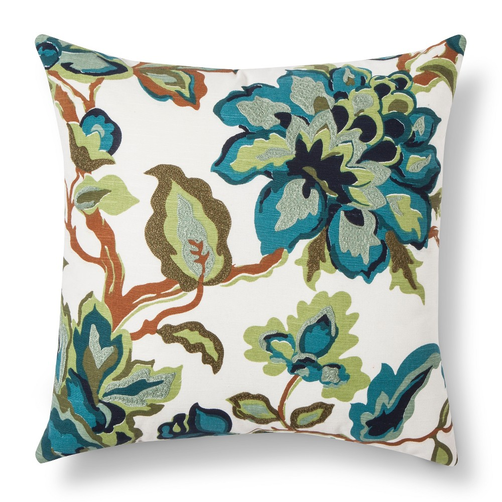 Cool Floral Throw Pillow Blue/Green - Threshold