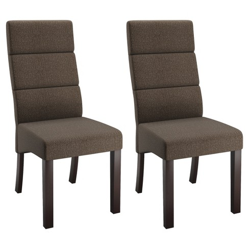 Tall Back Upholstered Dining Chair Brown Set Of 2 Corliving