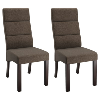 Bon Tall Back Upholstered Dining Chair   Brown (Set Of 2)   CorLiving