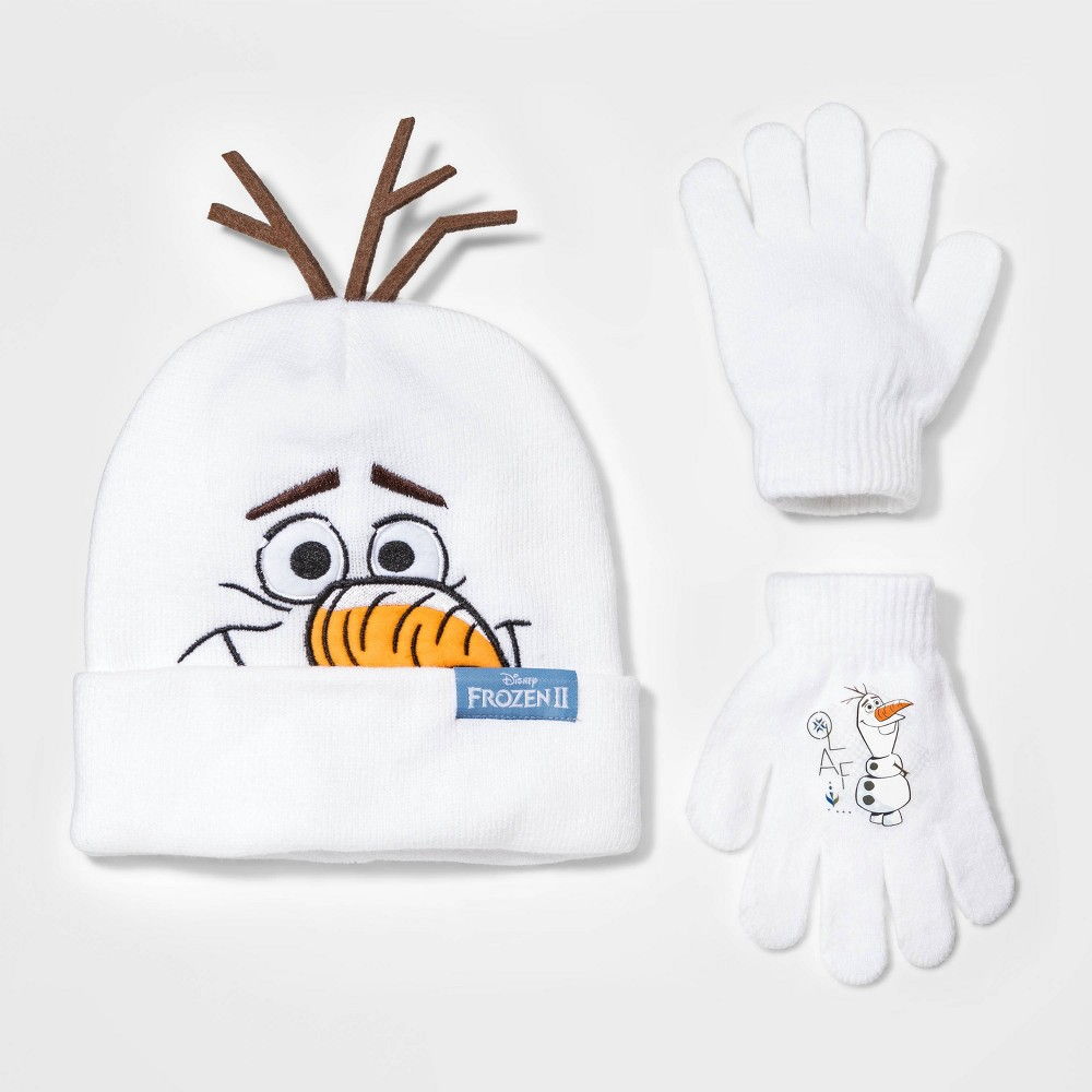 Image of Boys' Disney Frozen 2 Olaf Cuffed Beanie and Gloves Set - White One Size, Boy's
