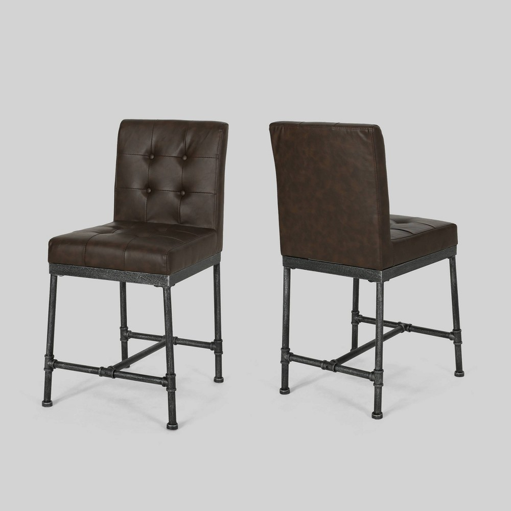 Set of 2 Commonwealth Industrial Modern Counter Stool Dark Brown - Christopher Knight Home was $189.99 now $132.99 (30.0% off)