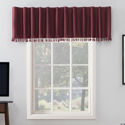 "17""x50"" Evelina Faux Dupioni Silk Beaded Tassels Thermal Back Tab Extreme Blackout Window Valance - Sun Zero"