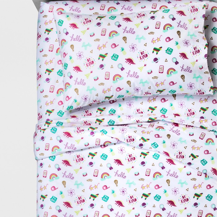 Doodle Darlings Sheet Set - Pillowfort™ - image 1 of 2