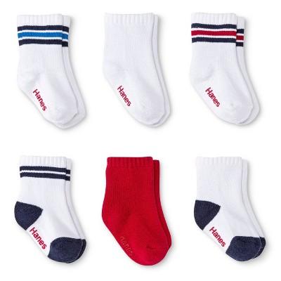 Hanes Infant Toddler Boys' 6pk Crew Socks - Colors Vary 4T-5T