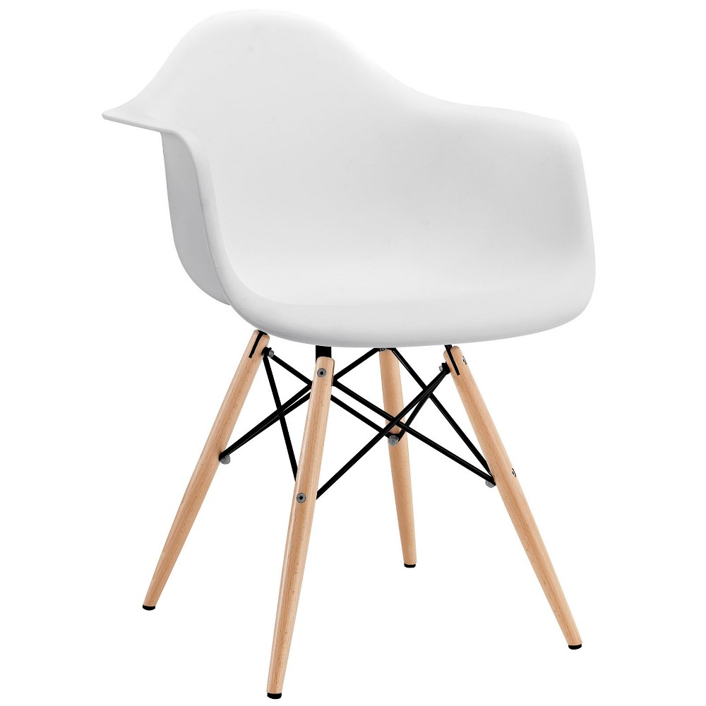 Pyramid Dining Armchair White - Modway