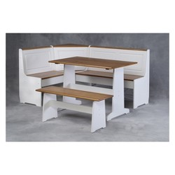 Ardmoore Nook Set Wood/White/Natural - Linon Home Decor