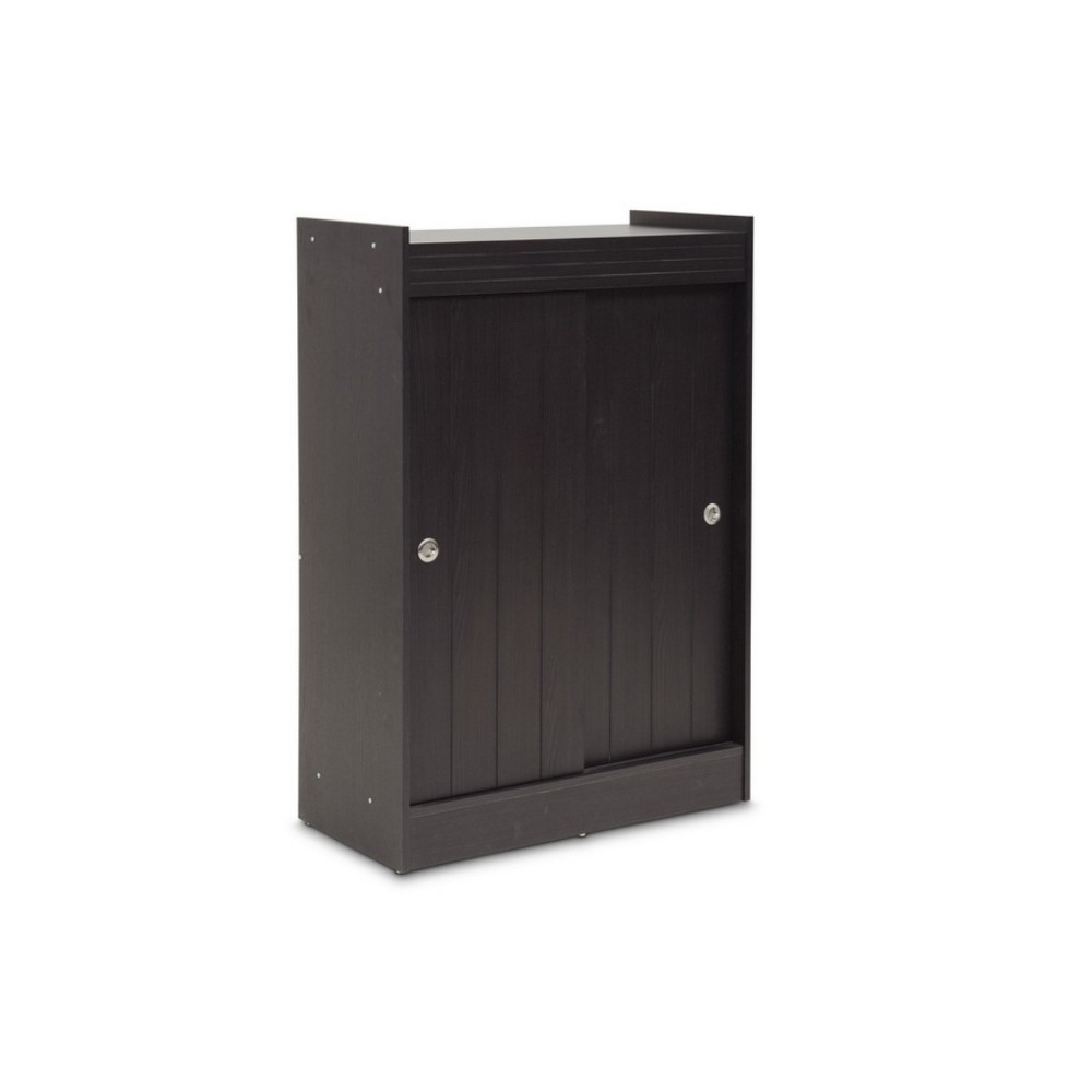Image of Espresso Finished Shoe Rack Cabinet Dark Brown - Baxton Studio