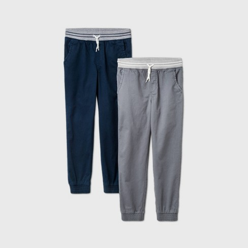 Boys' 2pk Stretch Pull-On Jogger Fit Pants - Cat & Jack™ Gray - image 1 of 2