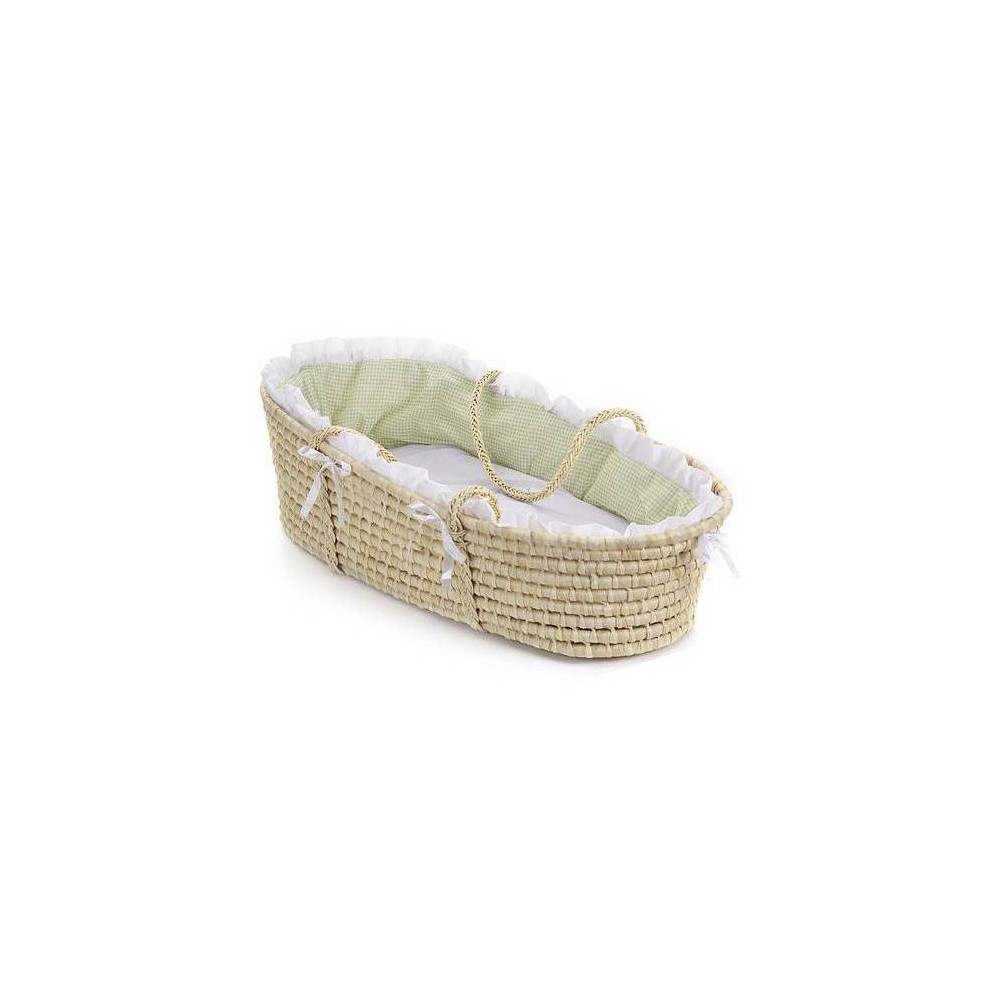 Badger Basket Natural Moses Basket Bedding - Sage (Green) Gingham Badger Basket's precious Moses Basket allows your infant to snooze near you wherever you are at home or when visiting friends. Everything you need is in the box to dress the basket with the cozy bedding and be ready for Baby's first days at home. Machine washable fabrics. Spot clean basket and wipe clean pad. Color: Sage. Gender: Unisex.