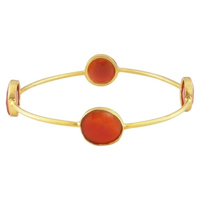 "16 CT. T.W. Carnelian Bangle in 22k Yellow Gold Plated Brass - 8"" - Red"