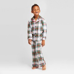 Kids' Plaid Holiday Tartan Pajama Set - Wondershop™ White