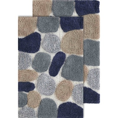 2pc Pebbles Bath Rug Set Gray/Blue - Chesapeake Merchandising