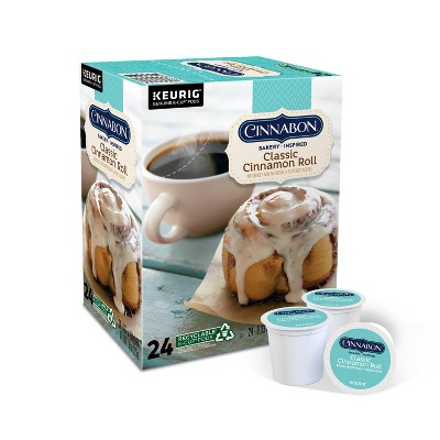 24ct Cinnabon Classic Cinnamon Roll Keurig K-Cup Coffee Pods Flavored Coffee Light Roast