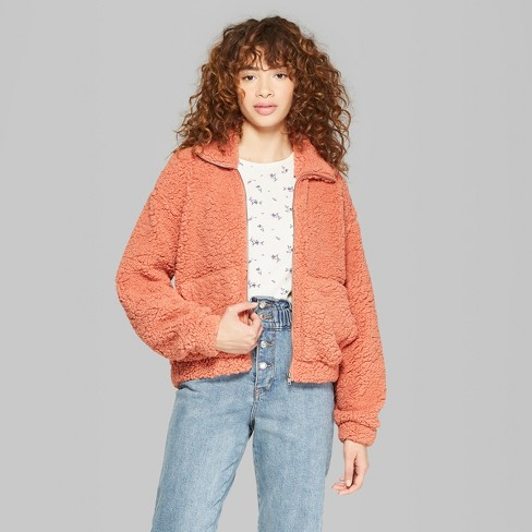 5084be42bd Women s Zip-Up Sherpa Jacket - Wild Fable™ Calm Orange   Target