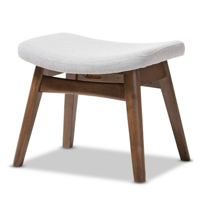 "Vera Mid - Century Modern Fabric Upholstered Ottoman - Light Gray, ""Walnut"" Brown - Baxton Studio"