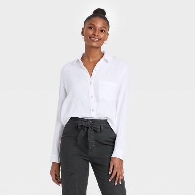 Women's Long Sleeve Gauze Button-Down Shirt - Universal Thread™