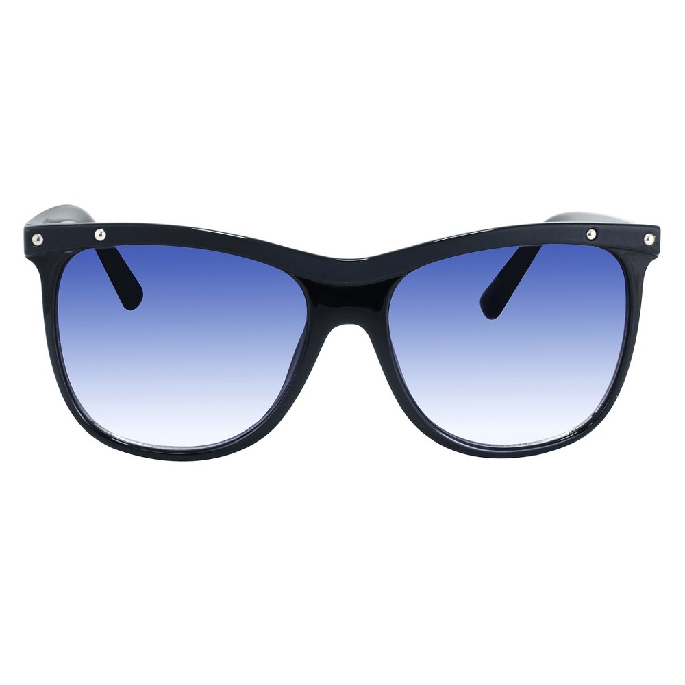 Women's Oversized Rectangle Sunglasses with Smoke Gradient Lens - Black