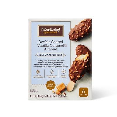Vanilla Caramel Almond Chocolate Double Coated Mini Ice Cream Bars - 6ct - Favorite Day™