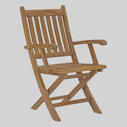 Marina Teak Outdoor Patio Folding Chair - Natural - Modway - image 1 of 2