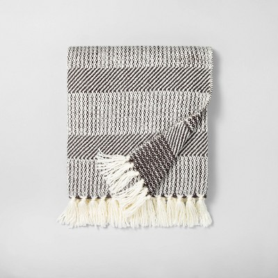 Allover Stripe Twill Throw Blanket Sour Cream/Railroad Gray - Hearth & Hand™ with Magnolia