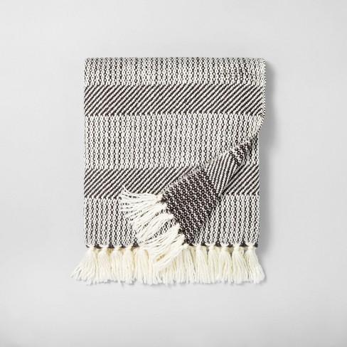 Allover Stripe Twill Throw Blanket Sour Cream/Railroad Gray - Hearth & Hand™ with Magnolia - image 1 of 3