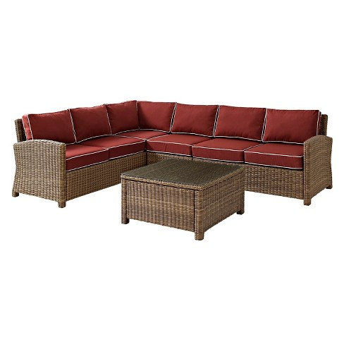 Crosley Bradenton 5-Piece Outdoor Wicker Sectional Seating Set with Sangria Cushions - image 1 of 10